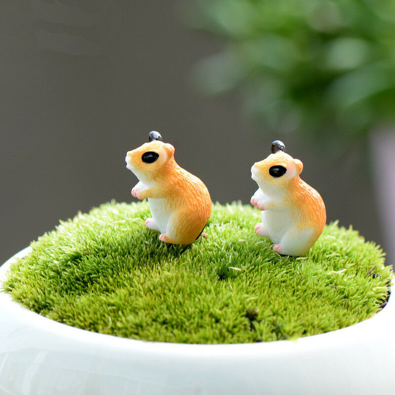 Mini Hamster Miniaturen Fee Garten Ornament 2pcs Kunsthandwerk Landschaft Dekor