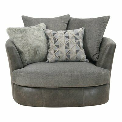 Pemberly Row Faux Leather Swivel Accent Chair in Gray