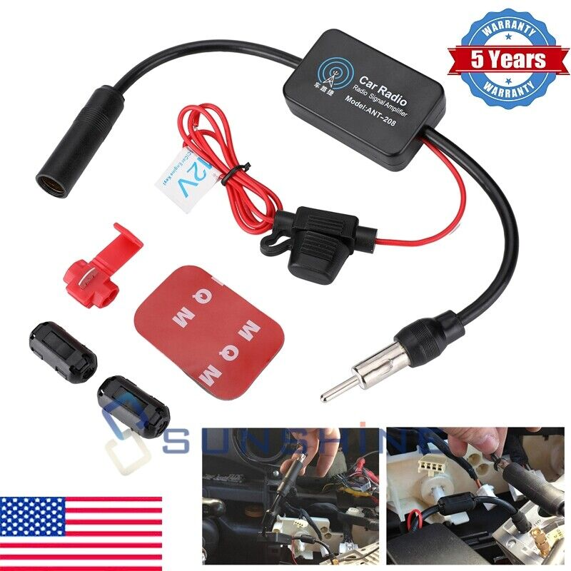 Car Stereo FM&AM Radio Signal Antenna Aerial Signal Amp Amplifier Booster Inline