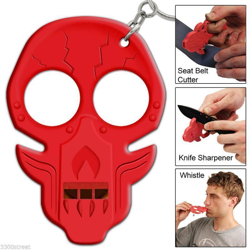 Outdoor Emergency Survival Knife Sharpener Whistle Seat Belt Cutter Key Chain RD