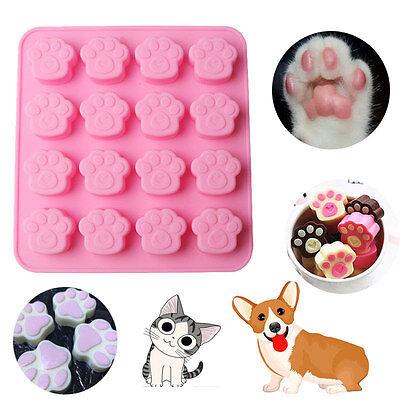 16 Cavity Cat Dog Paw Print Silicone Cake Chocolate Sugercraft Soap Ice Mold