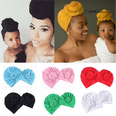 2Pcs Mom Mother Baby Knot Turban Cap Kids Girl Boy Warm Winter Cotton Beanie Hat ()