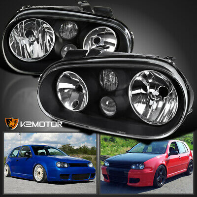 - For 99-06 VW Golf GTI MK4 Black Headlights Pair w/Built-in Projector Fog Lamps