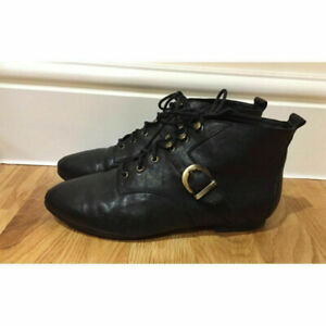 JEFFREY CAMPBELL black lace up boots with gold hooks US 7.5
