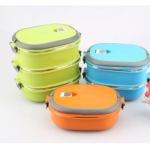 Lunch Box Thermal Insulated Hot Food Container Handle Stainless