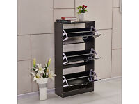 3 Doors Shoe Cabinet Cupboard Storage Rack Unit with Drawers Wood