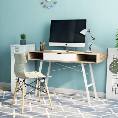 Retro Computer Desk Vintage PC Table Scandinavian Workstation Industrial Office