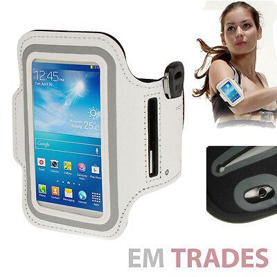 Sport Armband für Samsung Galaxy S4 mini Schutz Hülle Tasche Weiß Jogging 24