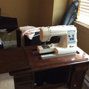 Kenmore Sewing 385 Machine in Oak Cabinet