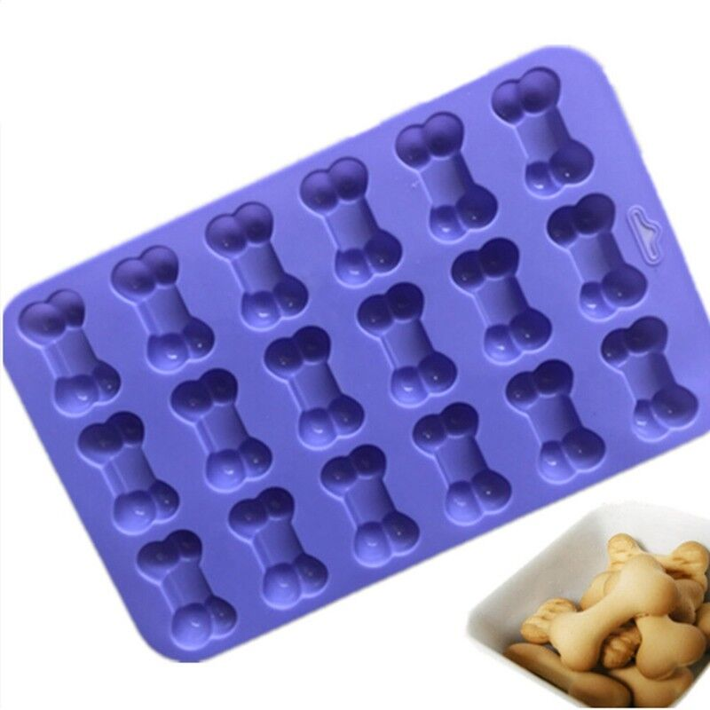 18 Cavity Dog Bone Silicone Cookie Biscuit Cake Chocolate Baking Tray Mould YS