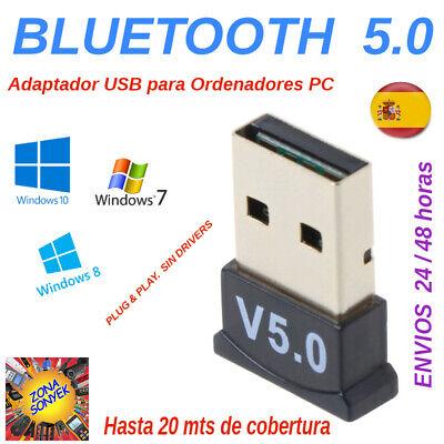 USB Bluetooth 5.0. Adaptador ordenadores PC .Plug & Play. Windows 10,8,7 y...