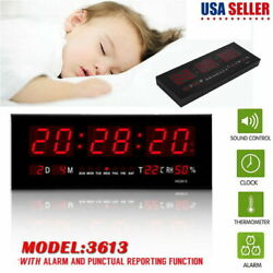 Large Digital Jumbo LED Wall Desk Alarm Clock Display Calendar Temperature Black
