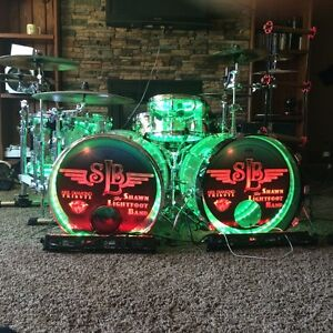 Full double base clear acrylic drumset with internal led lights