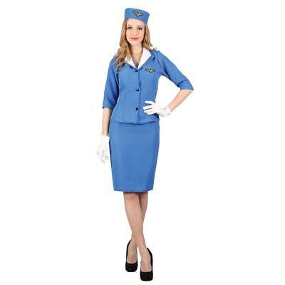 LADIES BLUE CABIN CREW PAN AM AIR HOSTESS FANCY DRESS COSTUME