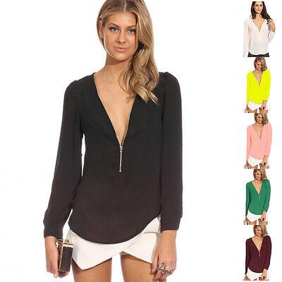 Sexy Fashion Women V-neck Tops Tee Long Sleeve Shirt Casual Blouse Loose T-shirt
