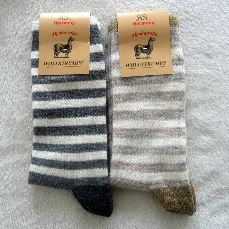 2 Paar Damen Wollsocken Schurwolle und Alpakawolle Ringel Größe 35 bis 42