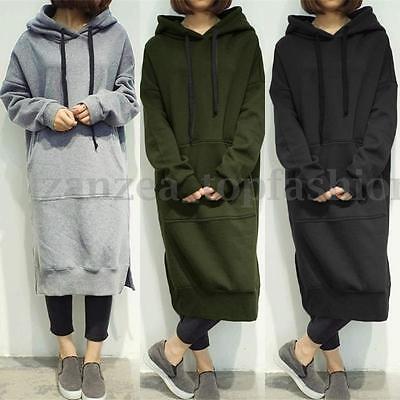 923fb4f8e5f Details about Hot Women s Long Sleeve Loose Casual Plus Sweatshirt Hoodies  Long Maxi Dress