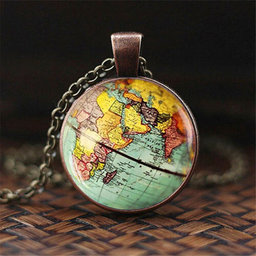 Details about Vintage Minimalist Globe Dome Necklace Earth World Map Glass  Pendant Chain S
