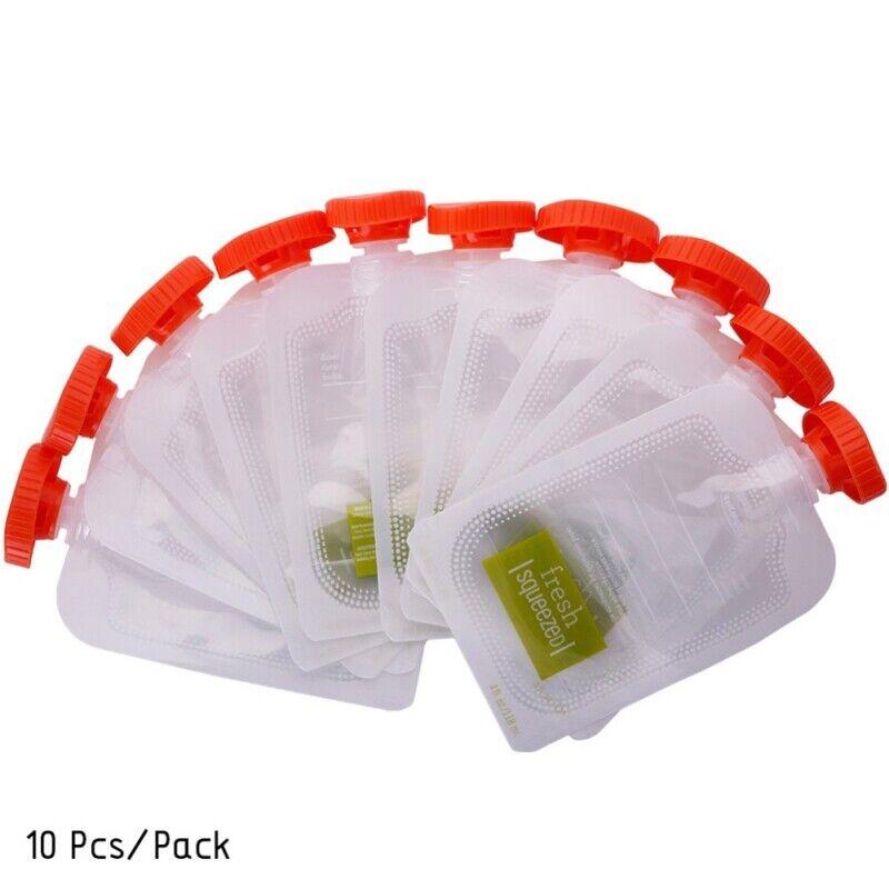 10Pcs Reusable Food Pouches Refillable Squeeze Storage Organic Puree Food Bag US