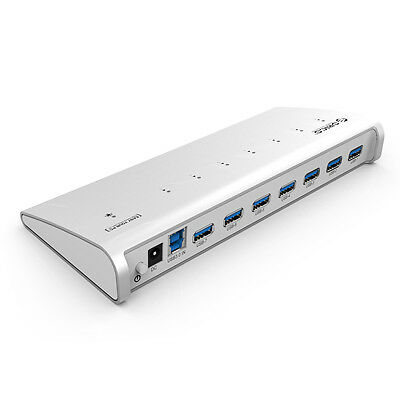Aluminum 7 Ports USB 3.0 HUB + 12V Power Adaptor for PC Mac W/1M USB3.0 Cable