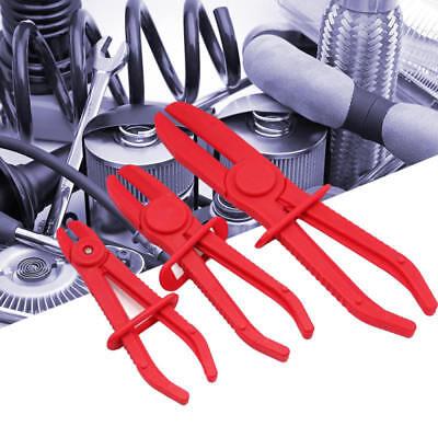 Line Clamp Plier Set (3 Piece Flexible Hose Clamp Kit Line Clamp Plier Set Brake Fuel Water Line Red)