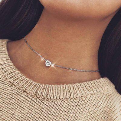 Fashion Heart Crystal Diamond Necklaces Pendant Chain Jewlery Women Charms Gift Diamond Heart Fashion Pendant