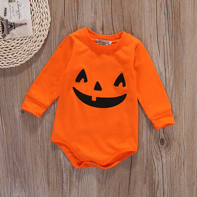 Lovely Newborn Baby Girls Boys Romper Pumpkin Bodysuit Halloween Costume Outfits - Adorable Baby Girl Halloween Costumes
