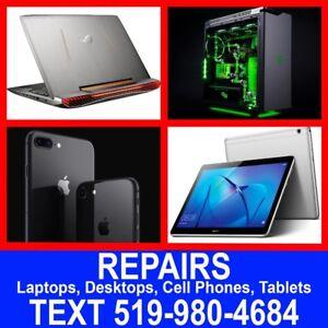 REPAIRS: LAPTOPS, MACBOOKS, DESKTOPS, TABLETS, CELL PHONES