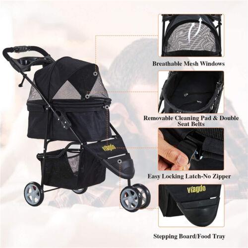 3-Wheel Pet Stroller NO-ZIP Cat Dog Stroller Cart Removable Liner Storage Basket
