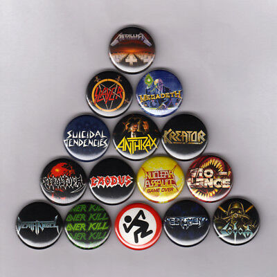 "THRASH METAL 1"" PINS BUTTONS w/ SLAYER METALLICA EXODUS MEGADETH ANTHRAX (patch)"
