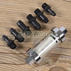 6 8 10mm Universal Fuel Filter Chrome & Glass Car Petrol Diesel Inline Reusable