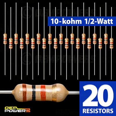 20 X Radioshack 10k-ohm 12-watt 5 Carbon Film Resistor 2711126 Bulk Pack New