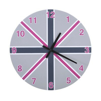 Dekorative Wanduhr 40x40 cm Uhr Rund Britain Blau Rosa Grau Avis01