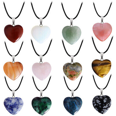 Natural Stone Quartz Heart Rock Pendant Necklace Fashion Jewelry Free Shipping