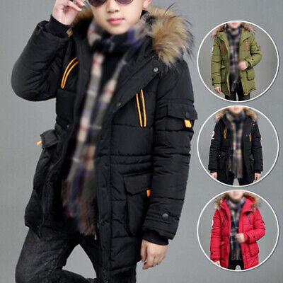 Hot Winter Kids Boys Hooded Puffer Coat Warm Jacket Outerwear Overcoat Age 6-17Y