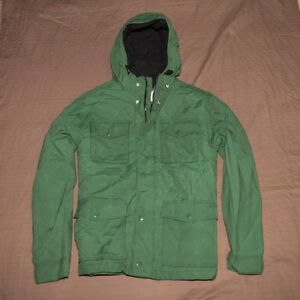 Men's Parka Jacket Coat Military Built In Hood Front Zipper