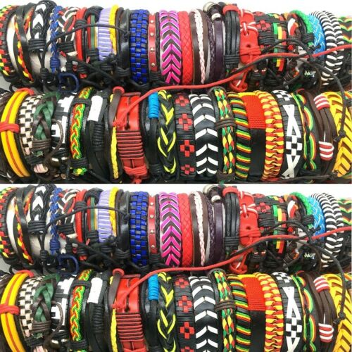 wholesale bulk lot 100PCs Hand Made Leather Cuff Ethnic Tribes fashion Bracelets