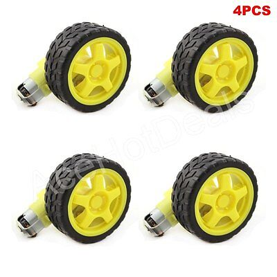4pcs Arduino Smart Car Robot Plastic Tire Wheel With Dc 3-6v Gear Motor