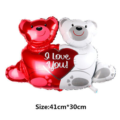 Red White Balloons (Red & White Teddy Bear Valentines Day Balloon (I love)