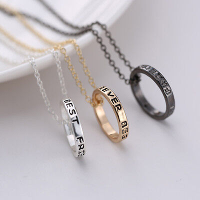 New BFF Ring Best Friends Forever Set Pendant 3 Pieces Necklace Friendship (Best Friends Forever Necklace 3 Piece)