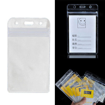 10 x Business Vertical Solid Vinyl Clear ID Card Badge Holder Case Cover Sleeve