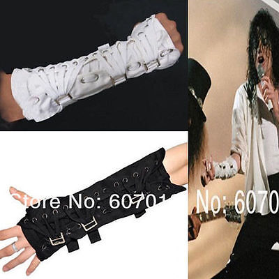 Rare MJ Michael Jackson Punk Armbrace BAD Jam Black White Cotton Glove Arm Brace - Mj Gloves