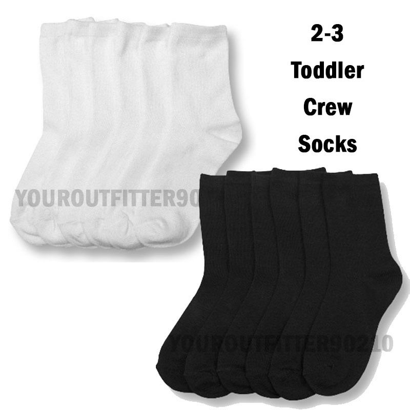 3 6 12 PACK Baby Toddler 2-3 Crew High Casual Socks Black White boys girls Kid