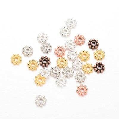 100 pcs. Snowflake Daisy Spacer Beads- 5mm x 1.5mm - 8 Colors! - Beaded Snowflakes