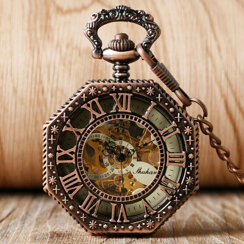 Retro Roman Numerals Octagon Shape Hand Winding Mechanical Pocket Watches Chain