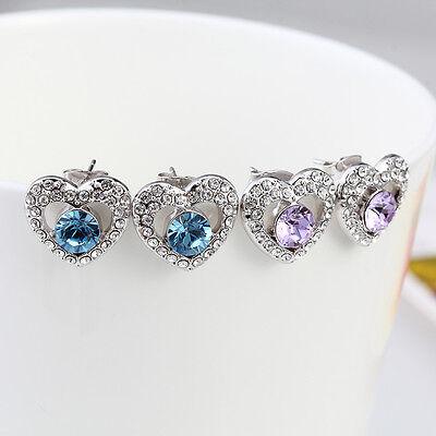 CUPID PIERCE EARRINGS BLUE AND PURPLE CRYSTAL EARRINGS BEST GIFT FOR LOVED