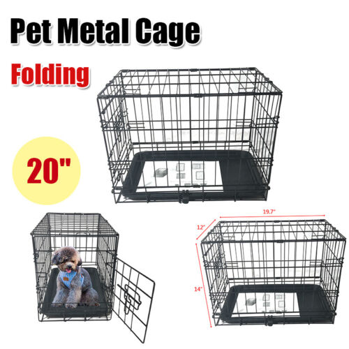 "20""Small Pet Cat Dog Fold Steel Crate Playpen Wire Metal Cag"