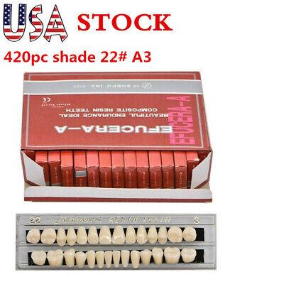 Us 420pc 15set Dental Shade 22 A3 Acrylic Resin Denture Resinteeth Upper Lower