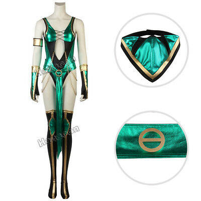 Mortal Kombat X Jade Cosplay Costume Adult Women Halloween Outfit Full Suit New