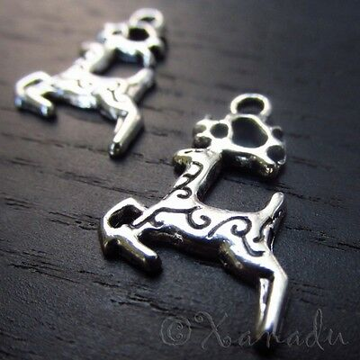 Stag Deer With Antlers Wholesale Silver Charm Pendants C5329 - 10, 20 Or 50PCs